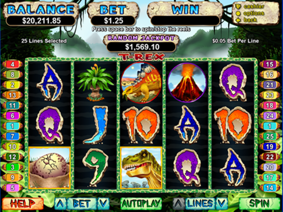 Prepare for the next razor-sharp instalment of the T-Rex slot game! Play it now at Slots of Vegas for free! Sign up with a % No Max Cashout Bonus for a $30 deposit and 30 Free Spins or a % No Max Cashout Bonus for a $50+ deposit and 50 Free Spins! Simply use the code BIGREX.