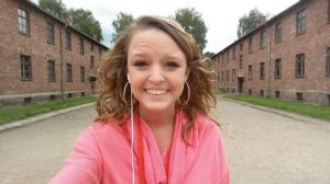 Smiling selfie at the Auschwitz