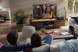 family watching netflix on tv