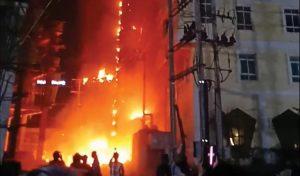 Burning Cambodian casino is burning