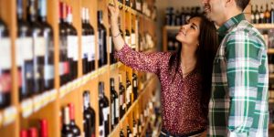 wine selection at store